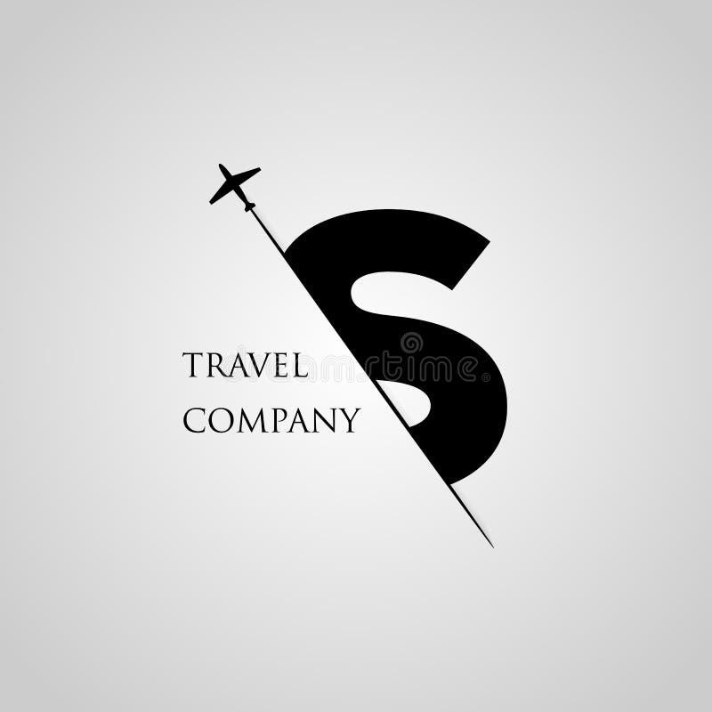 Haupts-Buchstabe wird in den Papierschlitz mit dem flachen Scheibenbuchstaben S für Reiselogo eingefügt vektor abbildung