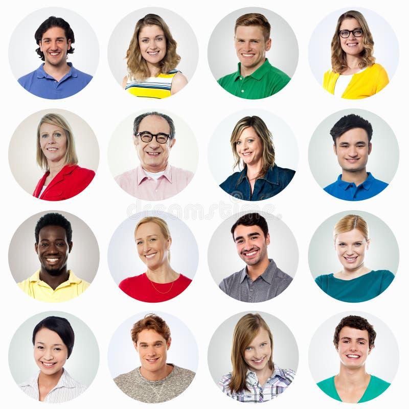 Hauptschuß von lächelnden Leuten, Collage stockfotografie