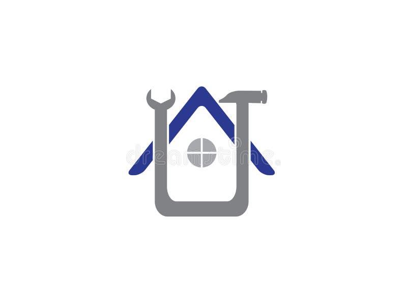 Hauptservice-Hammerwerkzeug, Hauswartung für Logoentwurfsillustration vektor abbildung
