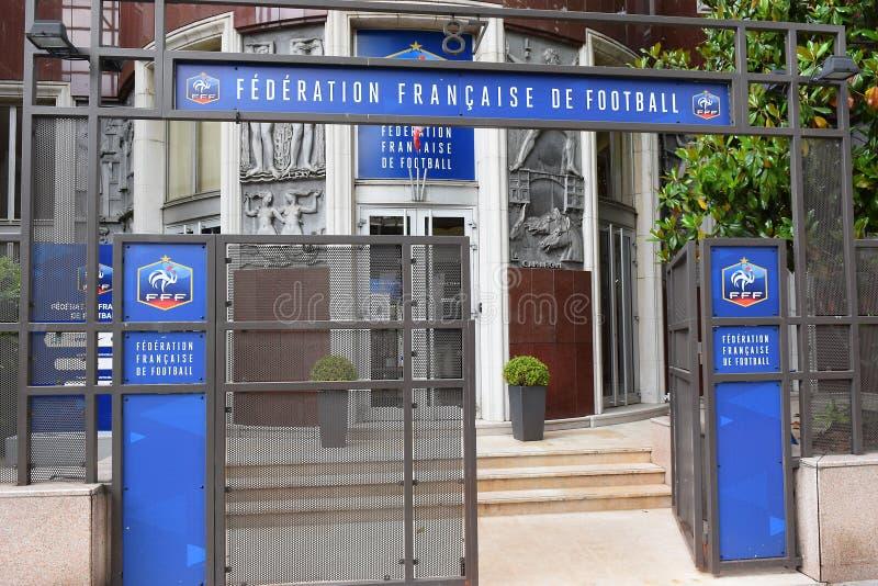 Hauptsitze der französischen Fußballvereinigung FFF, Paris lizenzfreies stockfoto