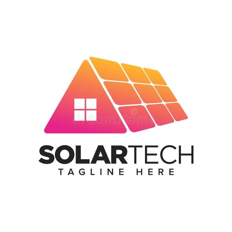 Hauptsonnenkollektor, Technologie-Logo der erneuerbaren Energie stock abbildung