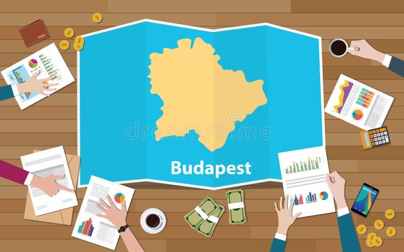 Hauptstadtregionswirtschaftswachstum Budapests Ungarn mit Team auf Faltenkartenansicht von der Spitze sich besprechen vektor abbildung