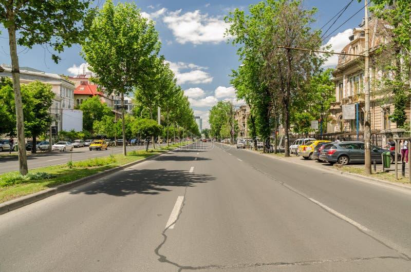 Hauptstraße in Bukarest stockbilder