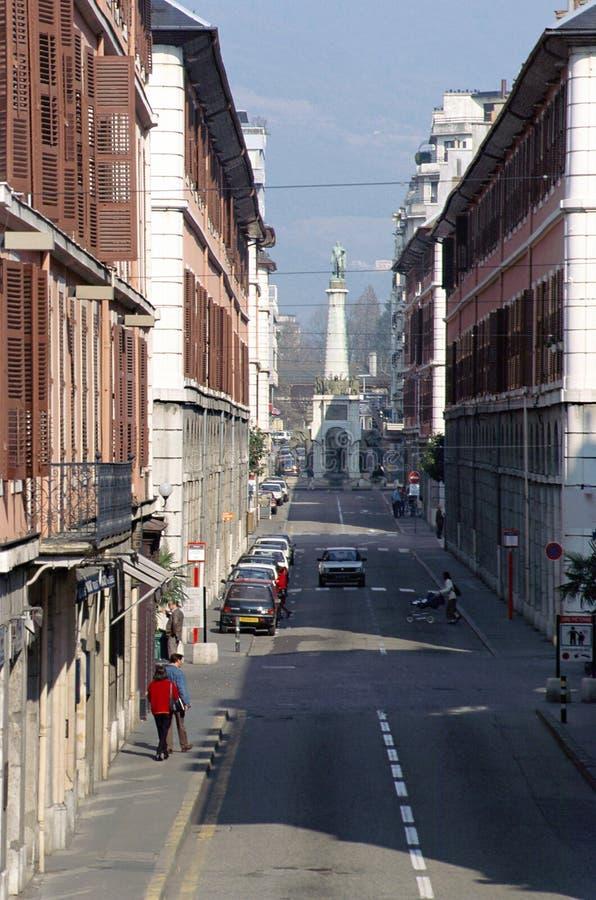 Hauptstraße in Chambery, Wirsing, Frankreich stockbild
