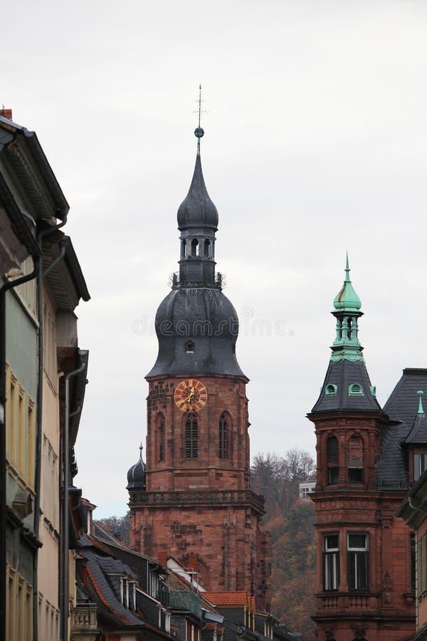 Hauptstrasse大街用德语在海得尔堡,德国 库存图片