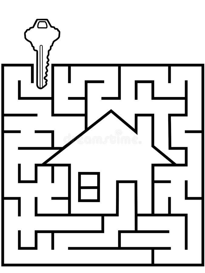 Hauptsucherlabyrinthpuzzlespiel mit Haustaste vektor abbildung