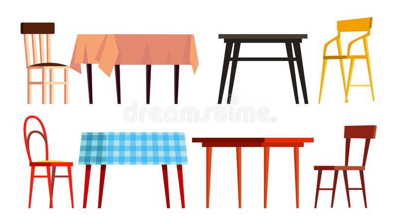 Haupttabellen-Stuhl-Ikonen-Satz-Vektor Hölzerne Abendessen-Möbel Lokalisierte flache Karikaturillustration vektor abbildung