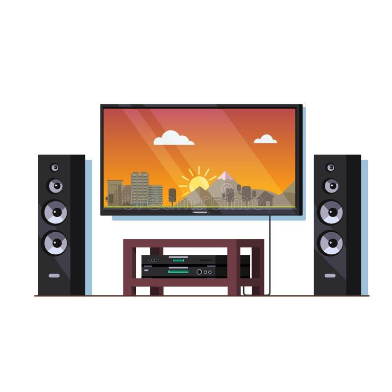 Haupttheatersystem mit großem Wandfernsehschirm lizenzfreie abbildung
