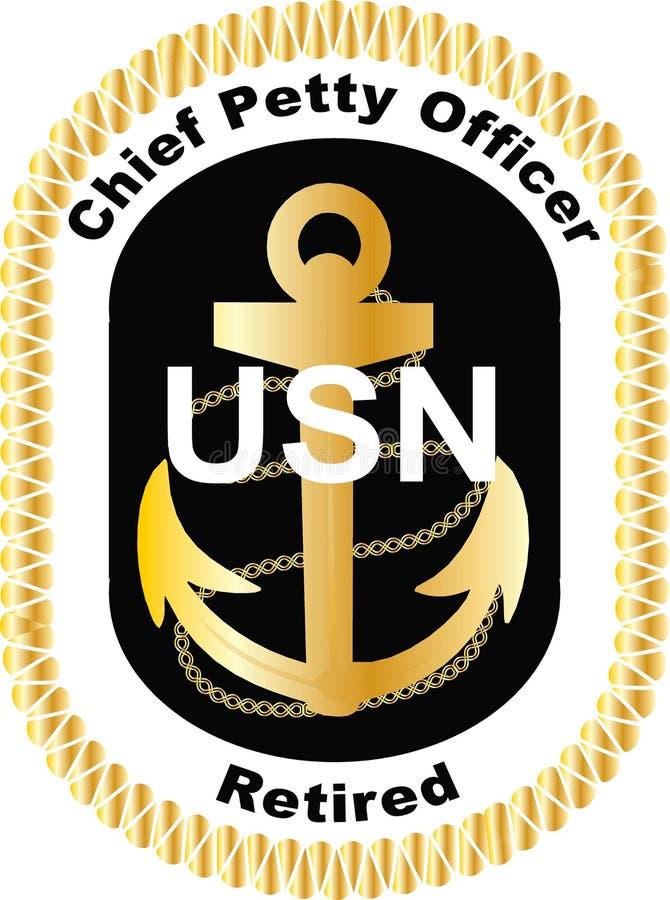Hauptunteroffizier Retired im schwarzen Logoabziehbildvektor Marine Vereinigter Staaten USN ENV ai-Goldranggolfmobil DIY lizenzfreie abbildung