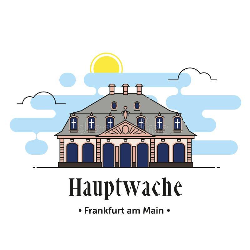 Hauptwache Frankfurt am Main illustration in Germany. Frankfurt am Main German architecture landmark thin line icon of Hauptwache vector illustration
