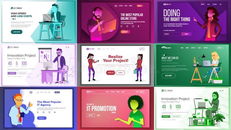 Hauptwebseiten-Bühnenbild-Vektor Website-Geschäfts-Konzept Landungs-Schablone Arbeitsteam Anwendungs-Zeitung lizenzfreie abbildung