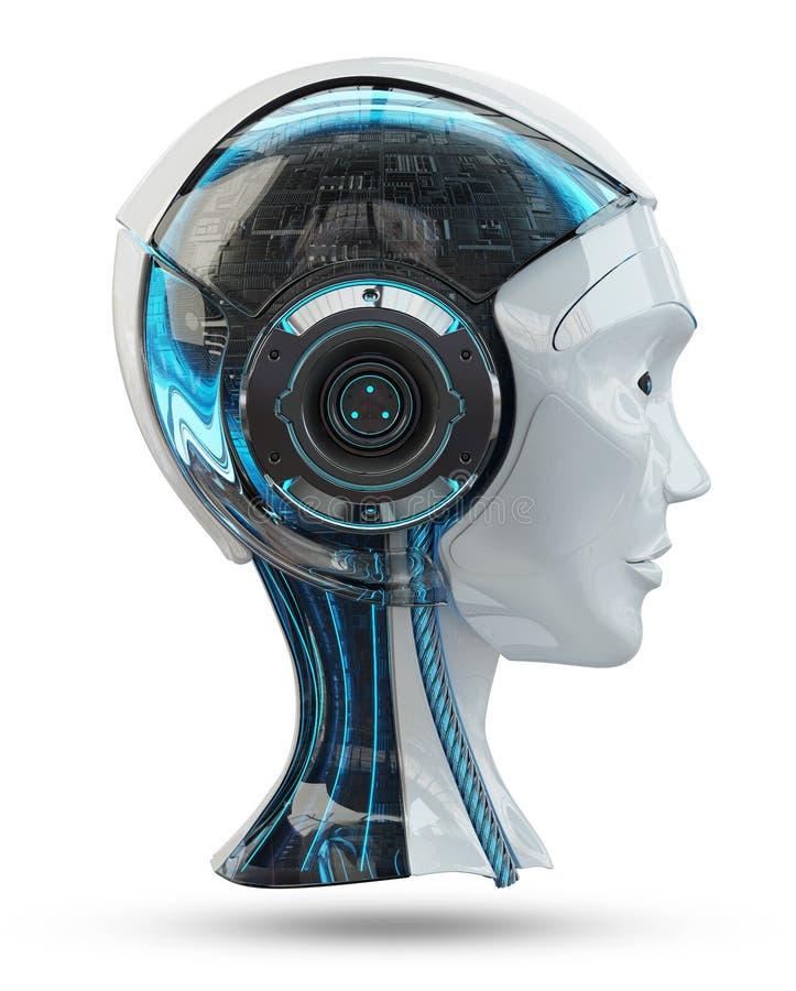Hauptwiedergabe der künstlichen Intelligenz 3D des Cyborg stock abbildung