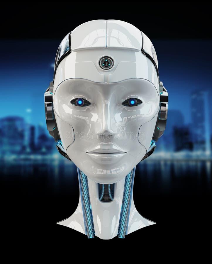 Hauptwiedergabe der künstlichen Intelligenz 3D des Cyborg lizenzfreie abbildung