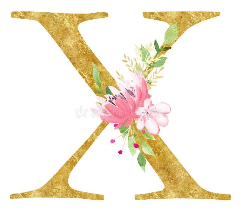 Hauptx-Zeichen mit Blumenrasterillustration lizenzfreie abbildung