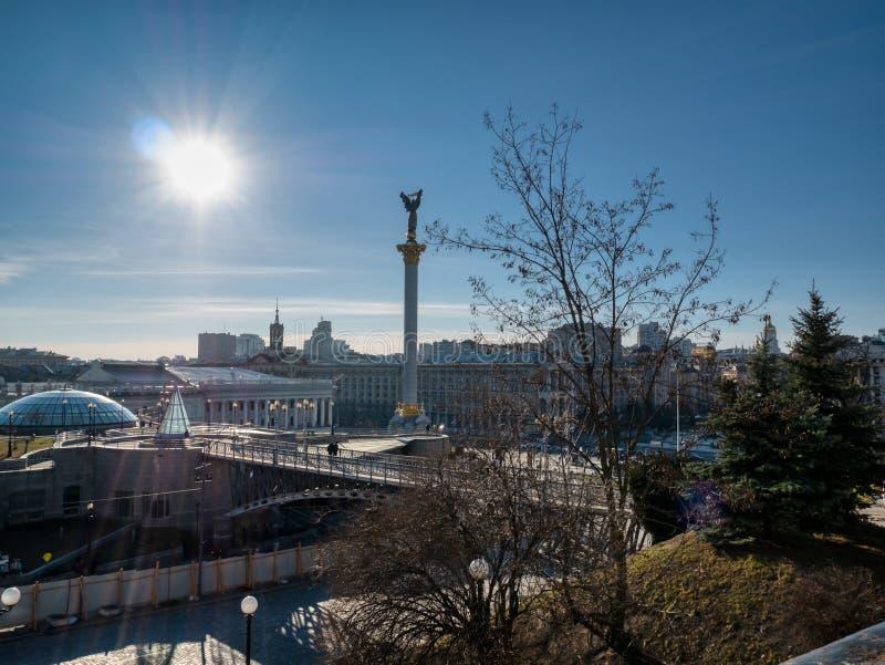 Hauptzentraler platz der Hauptstadt Kiew in Ukraine - Unabhängigkeitsquadrat Maidan Nezalezhnosti lizenzfreies stockfoto