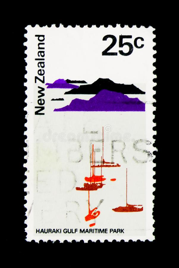 Hauraki Gulf Maritime Park, Pictorial Definitives serie, circa 1. MOSCOW, RUSSIA - NOVEMBER 26, 2017: A stamp printed in New Zealand shows Hauraki Gulf Maritime royalty free stock image