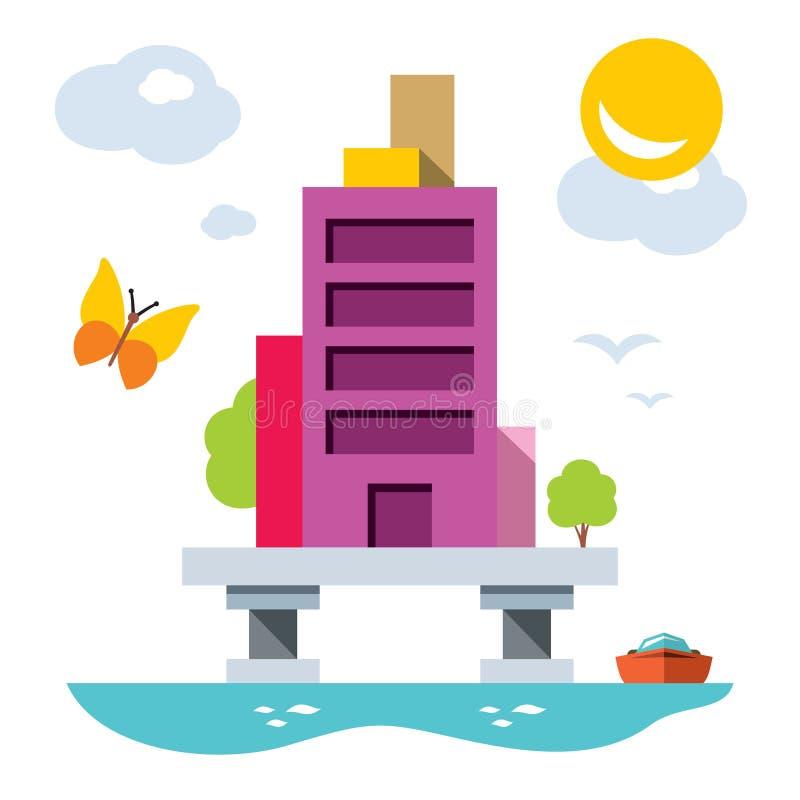 Haus über Wasser mit Yacht Flache Art des Vektors bunt stock abbildung