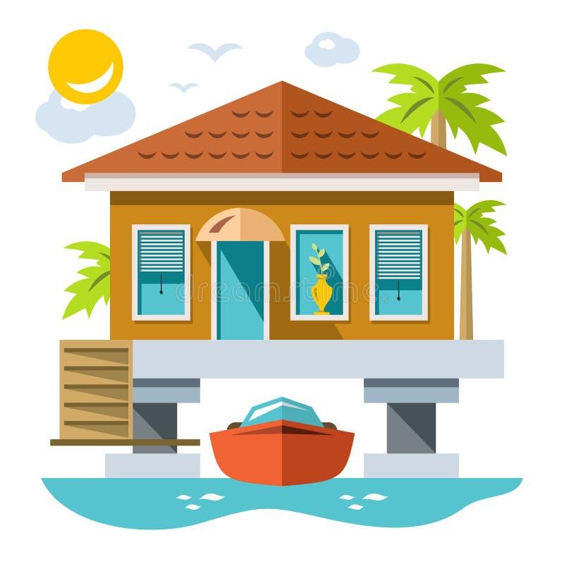 Haus über Wasser mit Yacht Flache Art des Vektors bunte Karikaturillustration lizenzfreie abbildung