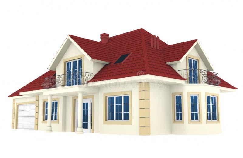 Haus 3d getrennt auf weißem Hintergrund stock abbildung