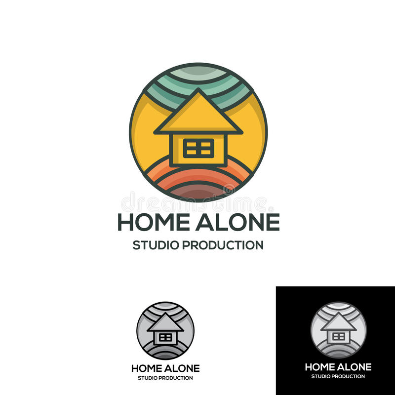 Haus allein mit Erd- und Himmelkonturnausweisstiftlogoschablone stockfotografie