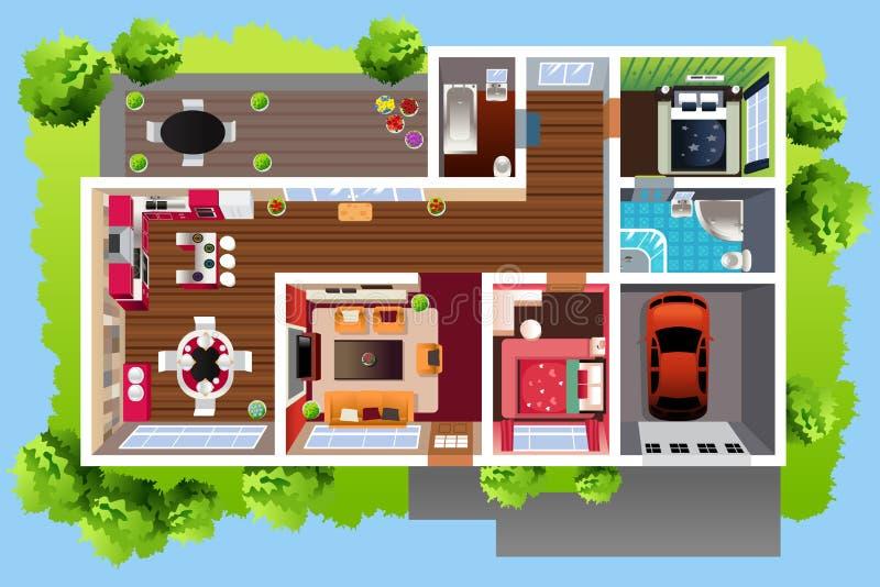 Haus-Architektur angesehen von oben vektor abbildung