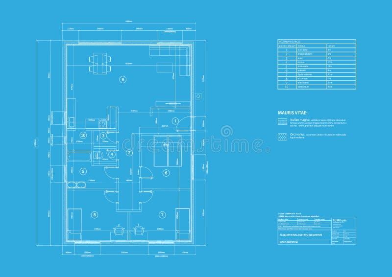 Haus auf Architektenzeichnung lizenzfreie abbildung