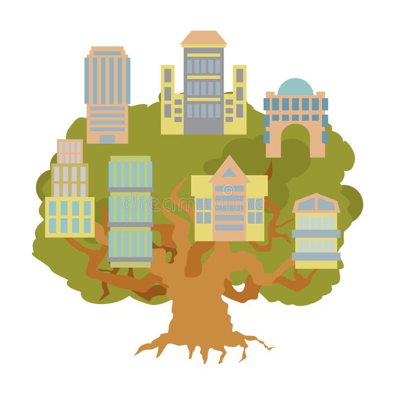 Haus auf Baum Bürogebäude auf Eiche Alligory neues Wohn lizenzfreie abbildung