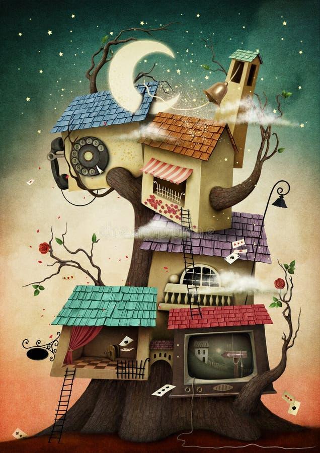Haus auf dem Baum lizenzfreie abbildung