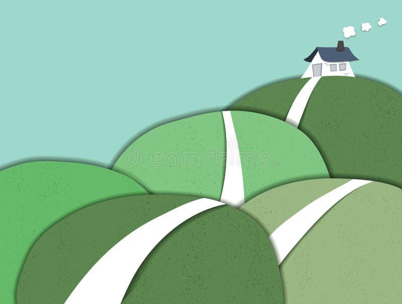 Haus auf dem Hügel stock abbildung