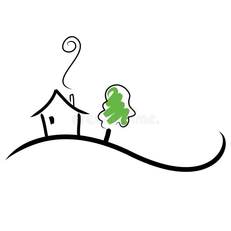 Haus auf einem Hügel lizenzfreie abbildung