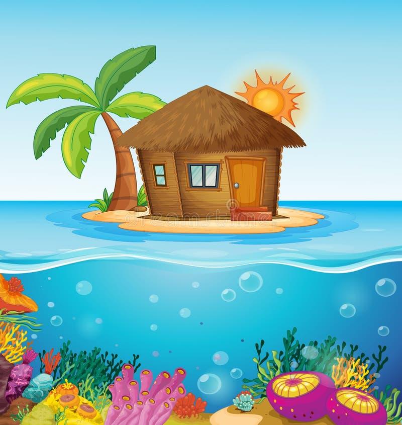 Haus auf einsamer Insel lizenzfreie abbildung