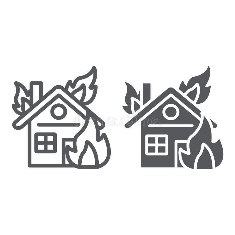 Haus auf Feuerlinie und Glyphikone, Brand und Unfall, brennendes Hauptzeichen, Vektorgrafik, ein lineares Muster auf einem weißen stock abbildung
