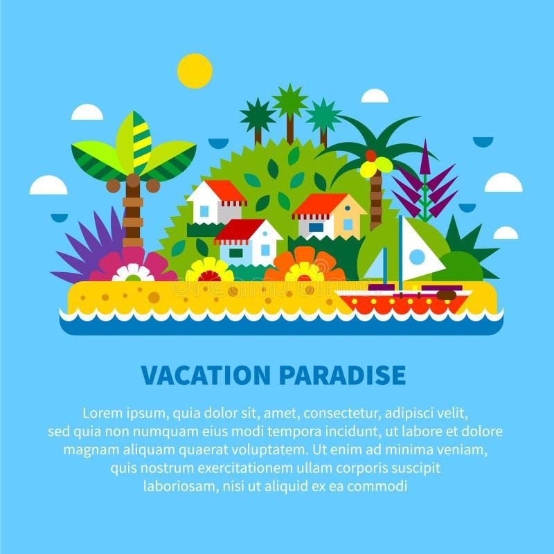 Haus auf Insel in den Tropen lizenzfreie abbildung