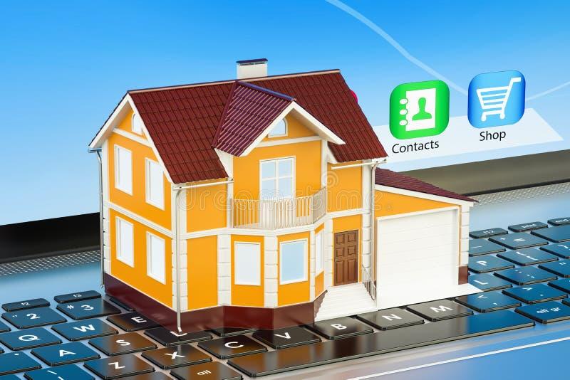 Haus auf Laptoptastatur, 3D stock abbildung