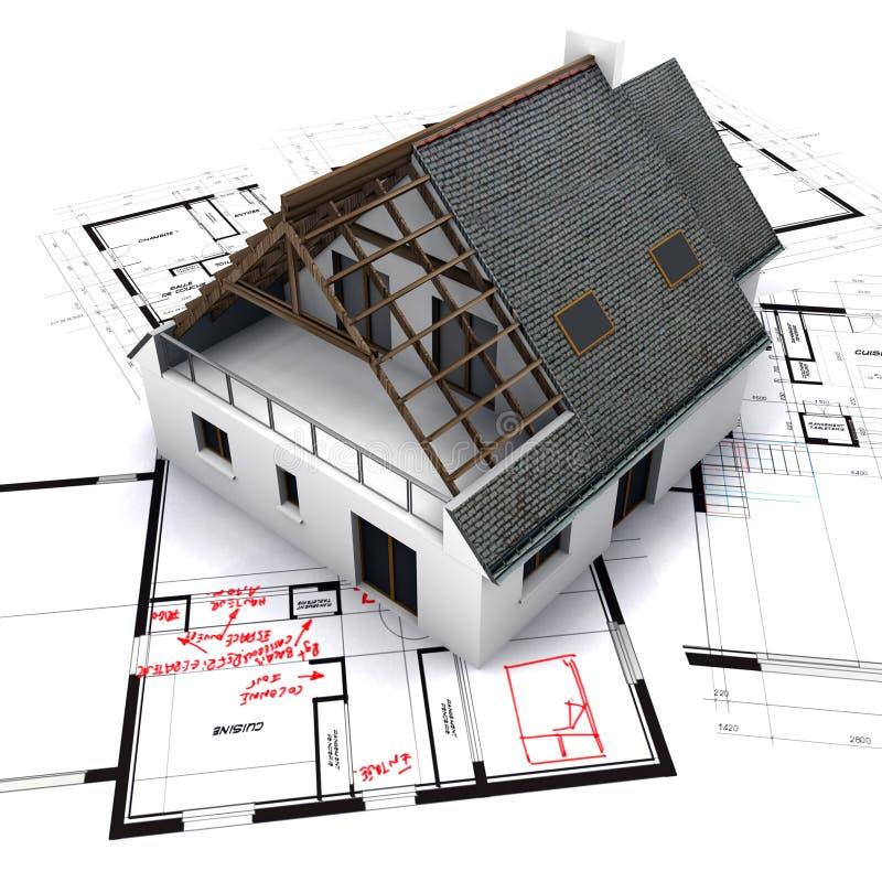 Haus auf Lichtpausen mit Anmerkungen lizenzfreie abbildung