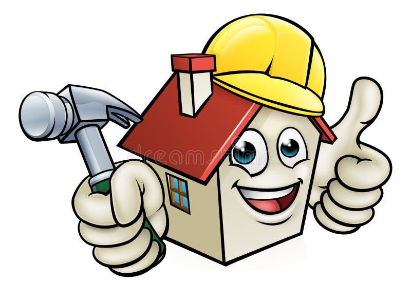 Haus-Bau-Maskottchen-Zeichentrickfilm-Figur lizenzfreie abbildung