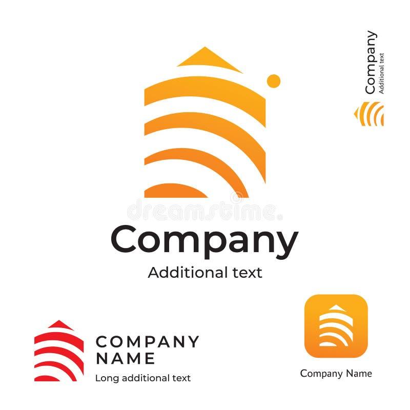 Haus-Bau-moderne Logo Design Building Business Identity-Marke und APP-Ikonen-Symbol-Konzept-gesetzte Schablone lizenzfreie abbildung