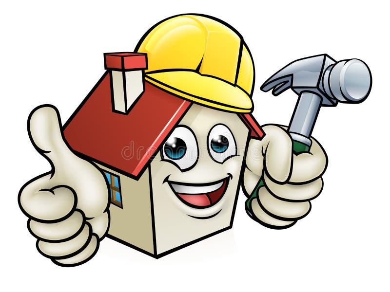 Haus-Bauarbeiter-Zeichentrickfilm-Figur stock abbildung