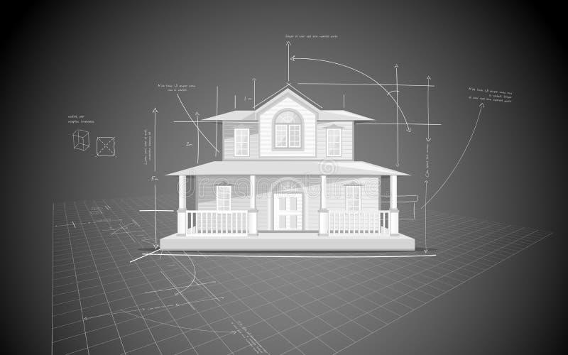 Haus-Blaupause lizenzfreie abbildung