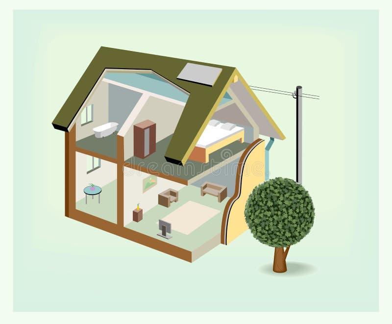 Haus-Cutawayikone des Vektors isometrische lizenzfreie abbildung