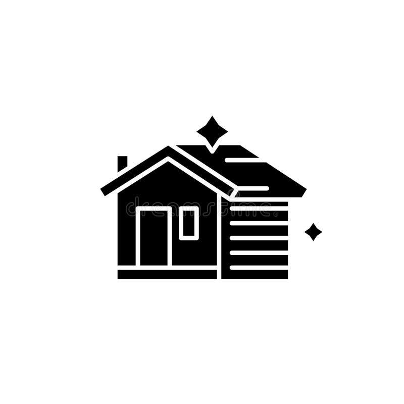Haus, das schwarze Ikone, Vektorzeichen auf lokalisiertem Hintergrund säubert Hausreinigungskonzeptsymbol, Illustration lizenzfreie abbildung
