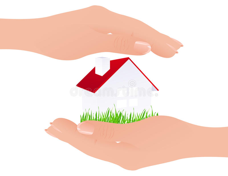 Haus in den Händen stock abbildung