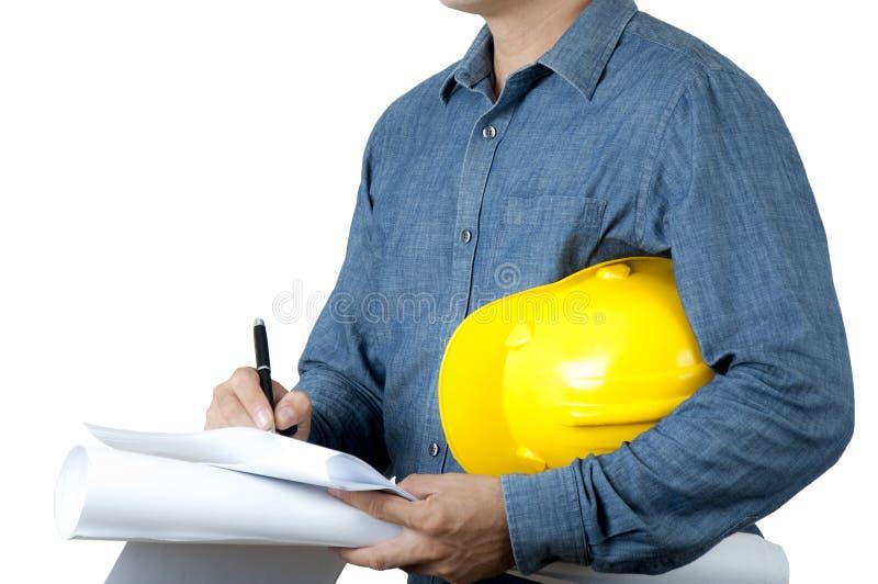 Haus des Architekturabgehobenen betrages und Errichten in der Perspektive am Papier und Plan auf weißem Hintergrund halten lizenzfreie stockbilder