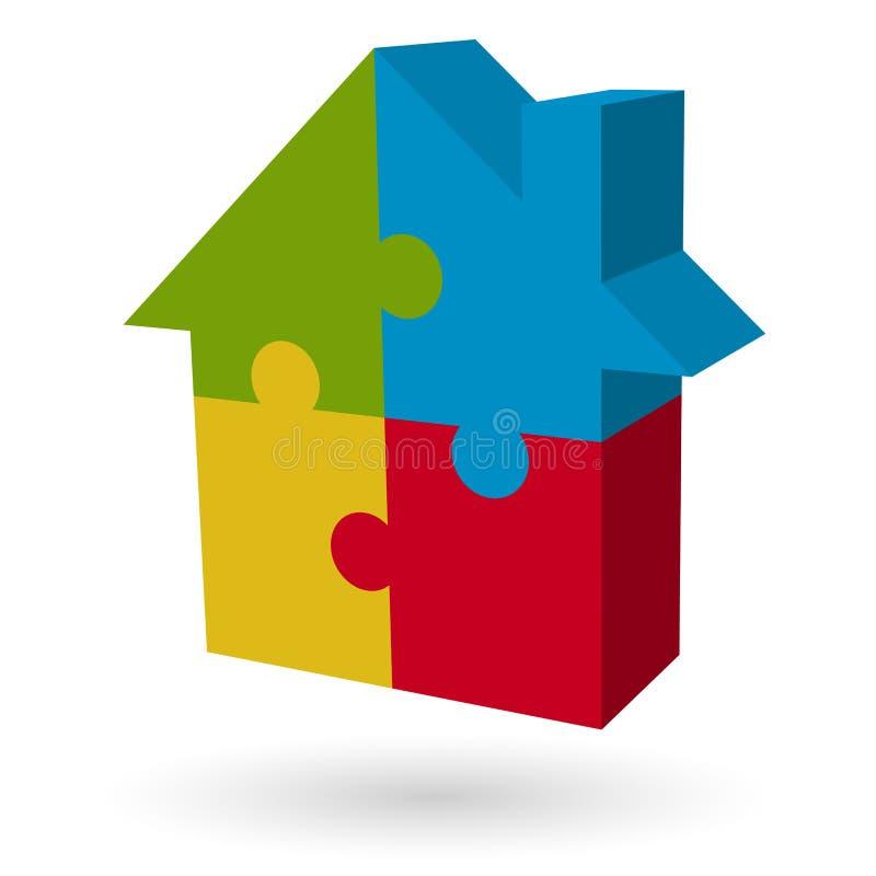 Haus des Puzzlespiels 3d stock abbildung