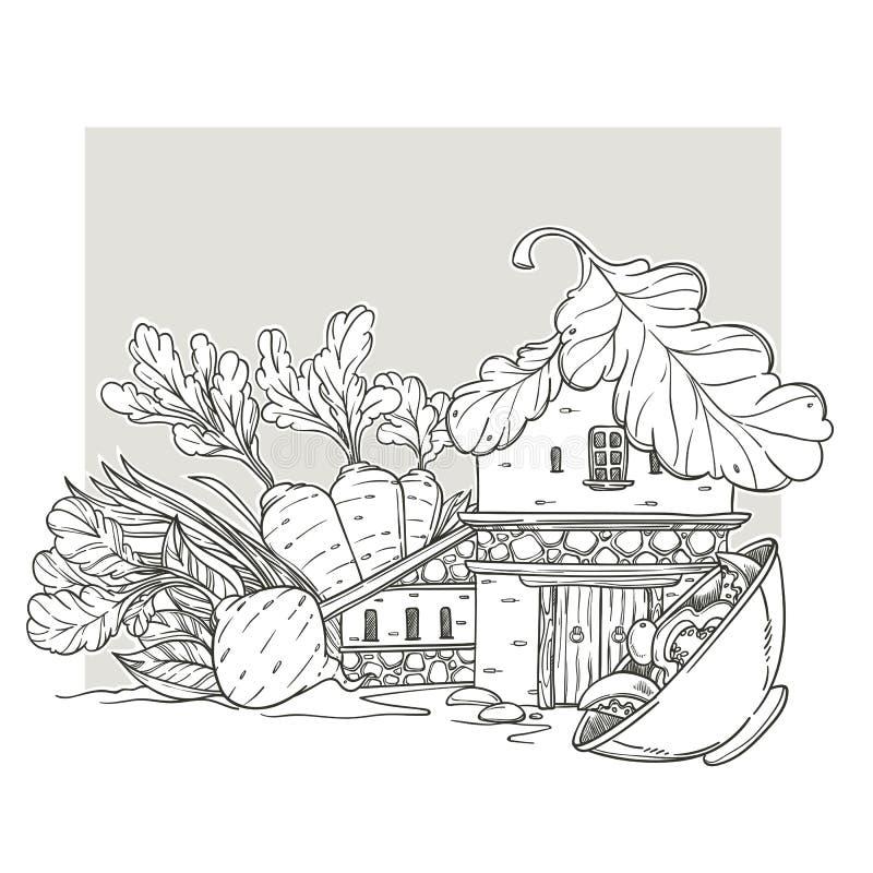 Haus des strengen Vegetariers, reizendes Karikatur-Haus, gemacht von der Karotte, Wurzel, Salat lizenzfreie abbildung