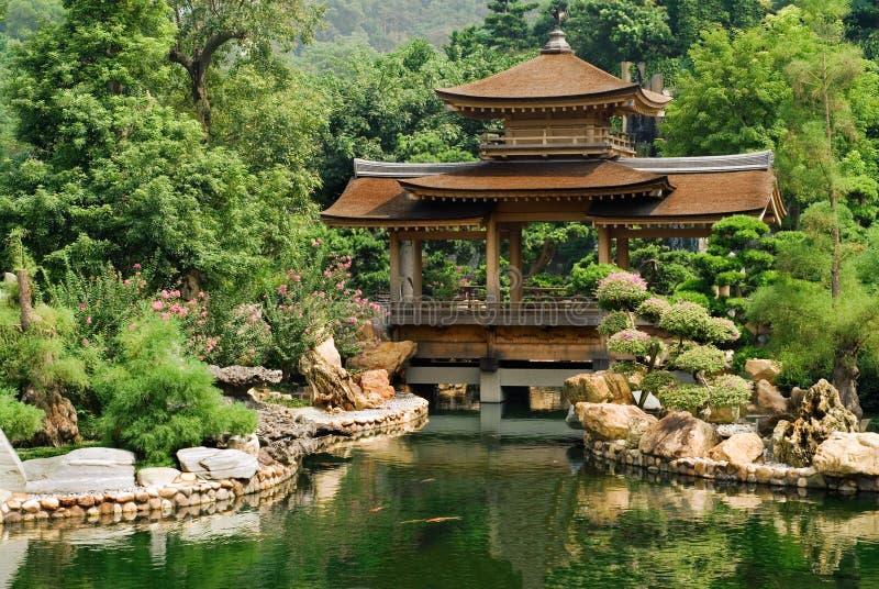 Haus des traditionellen Chinesen nahe dem Teich lizenzfreie stockfotografie