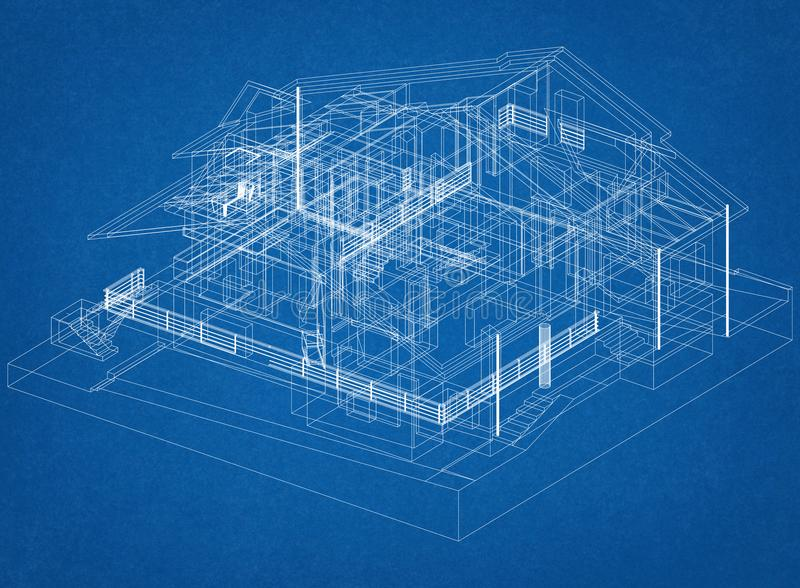 Haus-Design-Architekt Blueprint stockbild