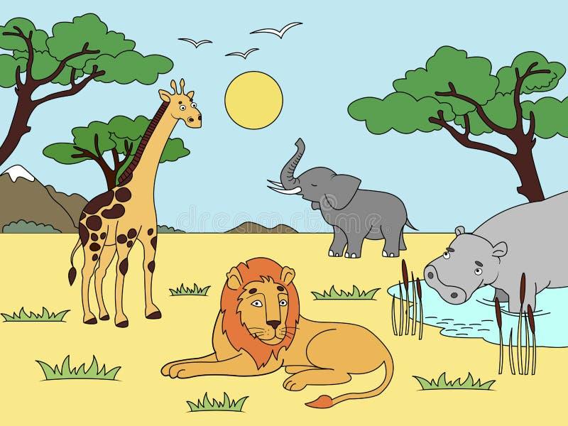 Haus ein eines Berges Tiere von Afrika, Festlandsäugetiere, Zoo Vektor vektor abbildung