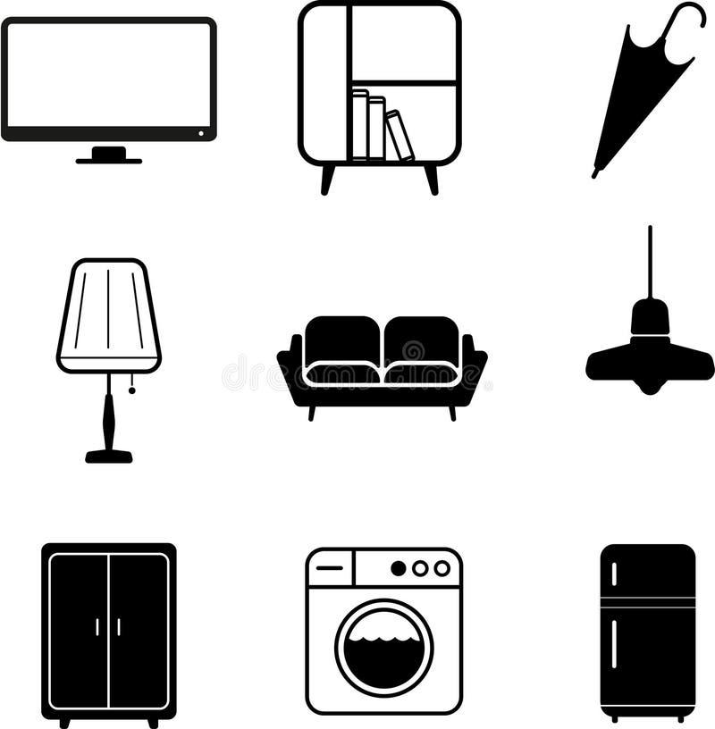 Haus-Element-Ikonen-Vektor stockfotos