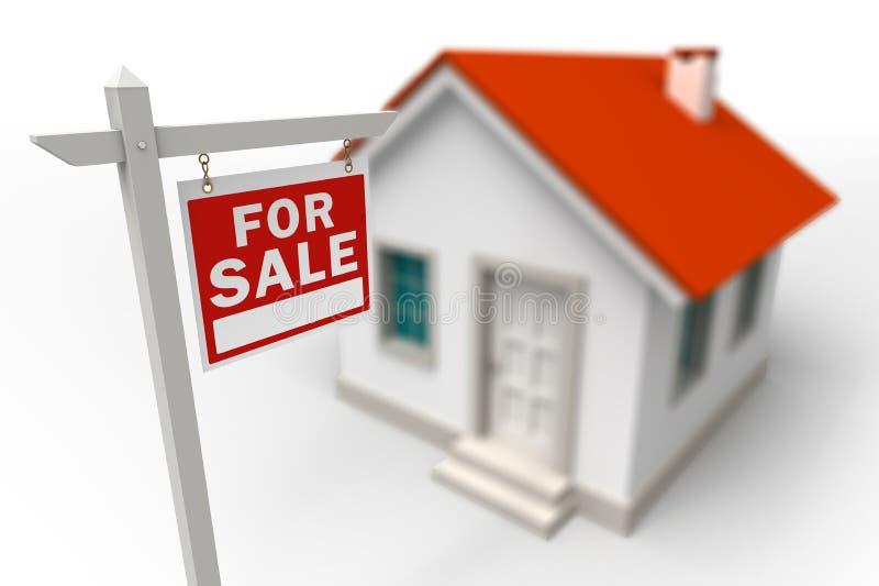 Haus für Verkaufs-Grundbesitzrotzeichen stock abbildung